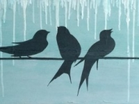 "Seven Swallows, 2014, 12""x36"""