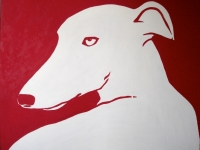 White Dog on Red, 60x72