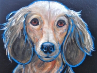 Rolf (Long-Haired Dachshund), 12x12, $200.