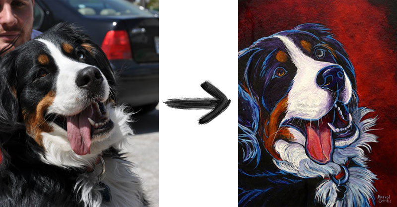 Bella (Bernese Mountain Dog - real to painting)